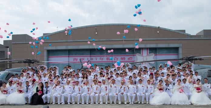 ▲海軍司令部舉辦的107年度集團婚禮。(圖/軍聞社提供)