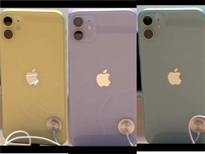 <br> ▲iPhone 11左起鵝黃色、紫羅蘭色、蘋果綠色。(圖/記者葉政勳攝,2019.9.20)