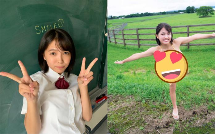 ▲17歲泳裝偶像寺本莉緒釋出新作品。(圖/翻攝推特)