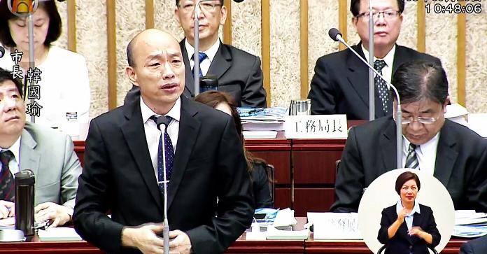 ▲韓國瑜施政報告時提到12月在高雄舉辦「2019高雄電競嘉年華」,事後證實活動已延後。(圖/高市議會提供)