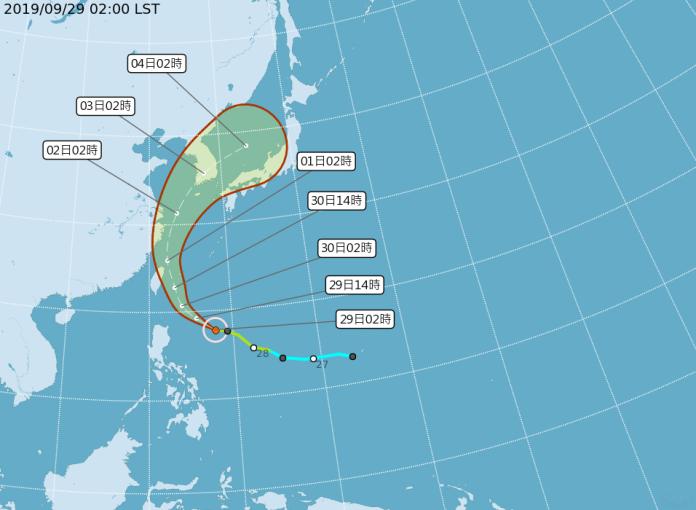 ▲中央氣象局9月29日上午8時30分發布輕度颱風米塔海上颱風警報。(圖/中央氣象局提供)