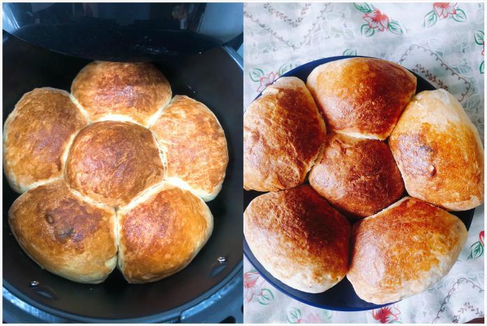<br> ▲一名女網友在臉書社團《廚藝公社》分享利用氣炸鍋做麵包,並附上食譜,貼文讓近 3 千名網友看完不禁嘖嘖稱奇。(圖/翻攝自臉書《廚藝公社》)
