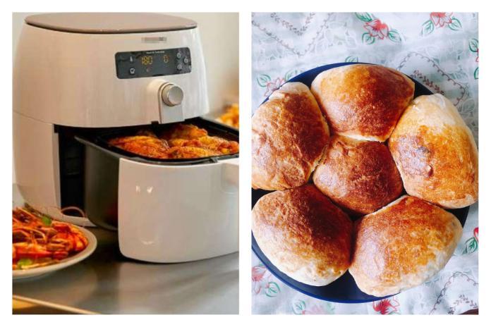 一名女網友在臉書社團《廚藝公社》分享利用氣炸鍋做麵包,並附上食譜,貼文讓近 3 千名網友看完不禁嘖嘖稱奇。(合成圖/翻攝自 carousell 、臉書《廚藝公社》)