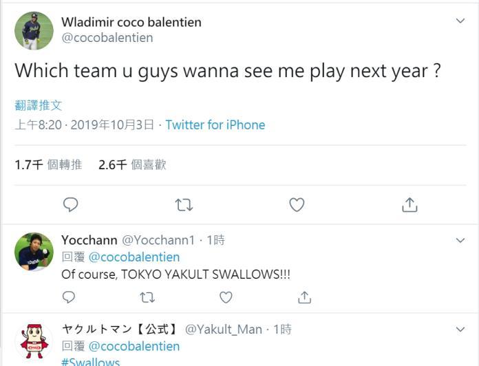 <br> ▲養樂多隊洋砲Wladimir Balentien在推特問粉絲明年該去哪一隊?(圖/截自推特)