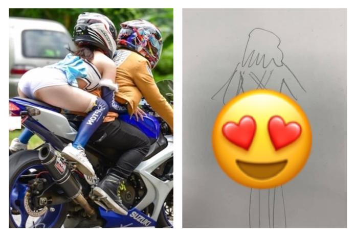 ▲當騎車在路上,看到前方車輛上的女子有「異狀」,該怎麼辦?(圖/翻攝自《爆怨公社》)