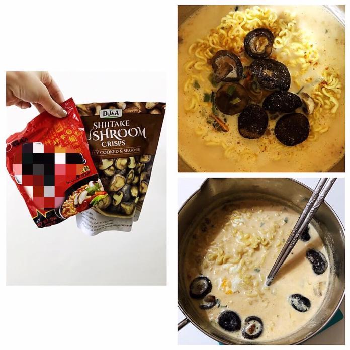 ▲不過就在某天想吃泡麵,覺得那一朵朵的香菇好像挺適合加進去的,然後抱著試試看的心態煮了「牛奶拉麵佐香菇」,湯頭因為加了牛奶,使原本的辛辣轉為為溫潤,香菇香氣滿滿、滑嫩帶有嚼勁。(圖/翻攝自《 Costco 好市多商品經驗老實說》)