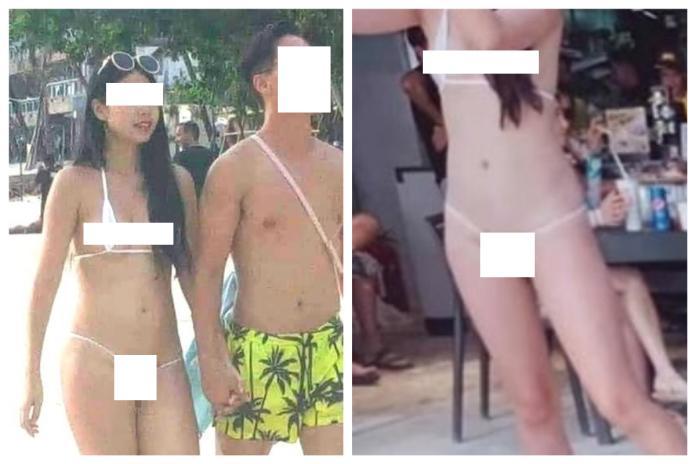 <br> ▲台灣女子穿著「一條線比基尼」在長灘島挨罰,事後喊冤:「我平時在台灣也都這樣穿啊!」不過網友肉搜後卻發現該女穿的疑似是情趣內衣,驚喊:「天阿!這也敢穿出來?」(圖/翻攝自臉書)