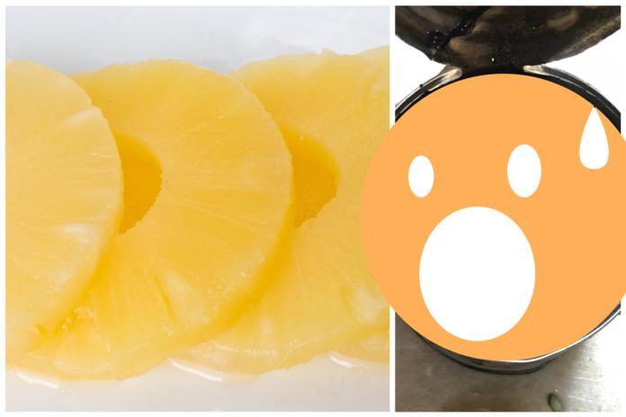 ▲日本一名女子開箱過期鳳梨罐頭,結果超意外。(合成圖,左為示意圖非當事罐頭/取自 photoAC 、 @nnsmr1781 推特)