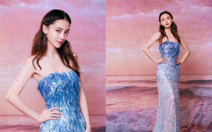 ▲ Angelababy身穿水藍色亮片禮服擔任主持人 。(圖/翻攝微博)