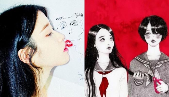 ▲ IU 分享雪莉的創作,該幅畫是她〈Red Queen〉的靈感來源。(圖/ IU IG )