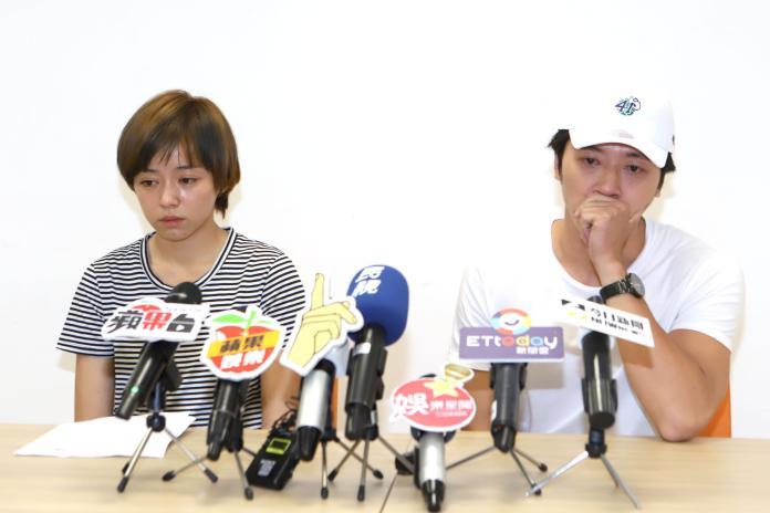 ▲馬俊麟在記者會上認了對王瞳有感情。(圖/記者林調訓攝)