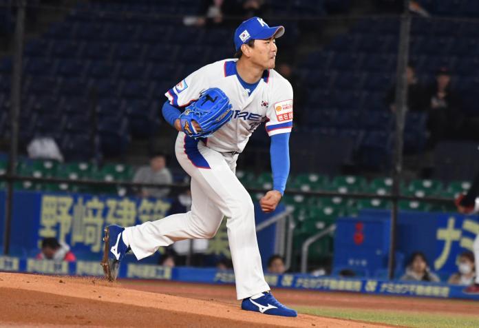 ▲世界棒球12強南韓先發投手金廣鉉。(圖/記者葉政勳攝 )