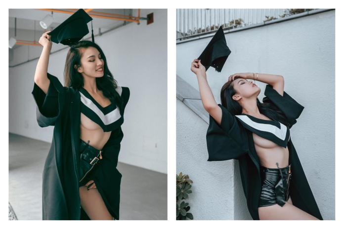 女大生學士服反穿辣露「<b>南半球</b>」  全場暴動:想要當同學