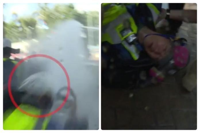 港警猛攻理工大學!記者遭水炮車擊中 當場休克後腦骨折