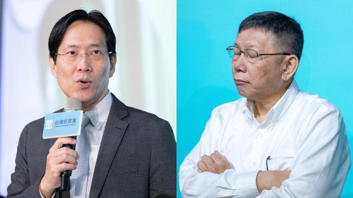 中山大學教授張其祿與台灣民眾黨主席柯文哲。