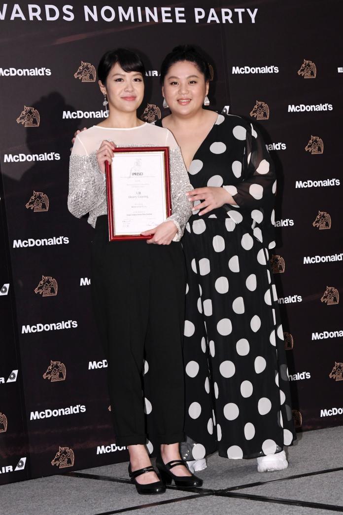 ▲新銳導演謝沛如(左)的《大餓》和女主角蔡嘉茵。(圖/林調遜攝)