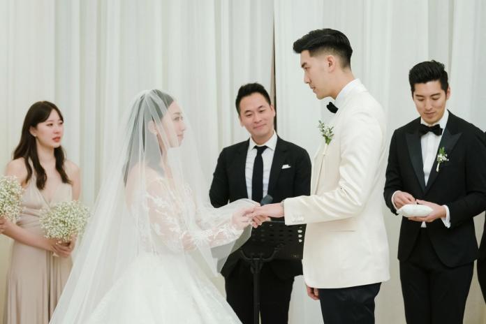 ▲▼毛加恩與造型師羅雯的婚禮。(圖/傑星傳播)