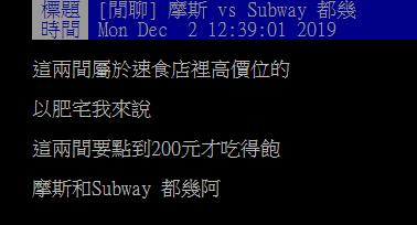 ▲網友在 PTT 女孩板詢問大家「摩斯 vs Subway怎麼選?」掀起熱烈討論。(圖/翻攝自PTT)