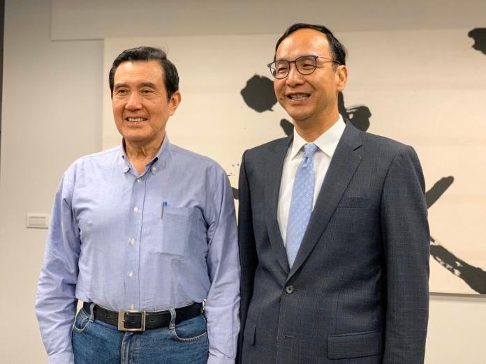 前總統馬英九、韓國瑜全國競總主委朱立倫。( 圖 / 朱立倫辦公室提供 )