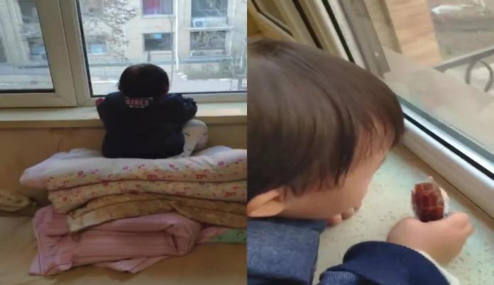 陸3歲娃趴窗台逾1小時還拿點心 父近看傻眼:這樣妳也行