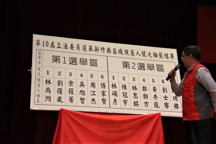 新竹縣立委<b>號次抽籤</b> 13候選人依序就戰鬥位置
