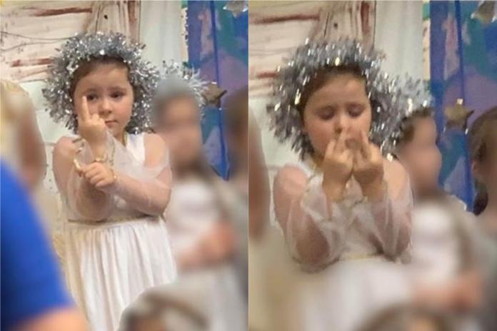 天使蘿莉表演全程比中指!「背後真相」被揭穿:太萌了