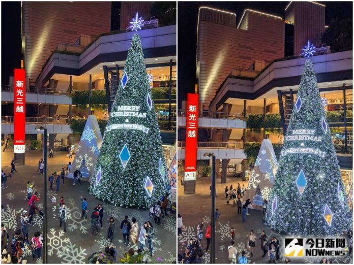 <br> ▲新光三越聖誕樹(左) iPhone 11 Pro 及(右) Pixel 4 拍攝效果差距不大,不過可以感覺 Pixel 4 拍的聖誕樹更亮一點。(圖/記者陳致宇攝)