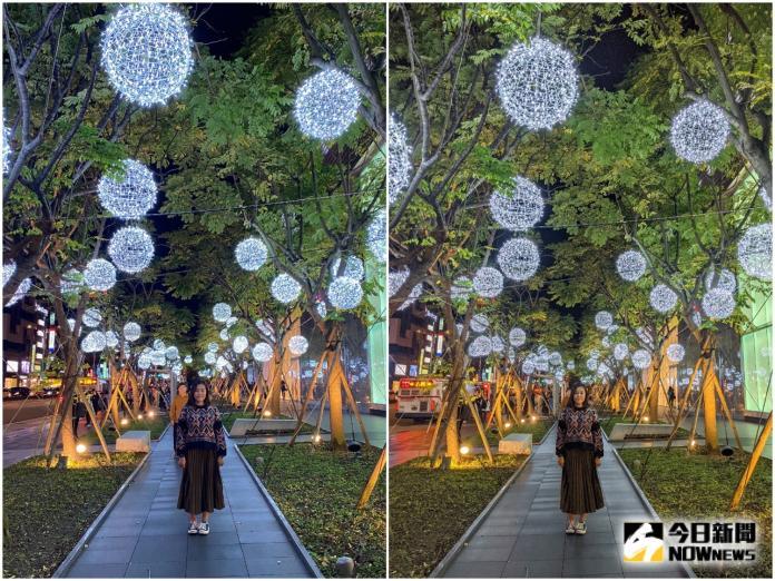<br> ▲微風信義店燈飾,(左) iPhone 11 Pro 很接近肉眼看到的景色,(右) Pixel 4 則是能將暗處的細節紋理拍得相當清楚。(圖/記者陳致宇攝)
