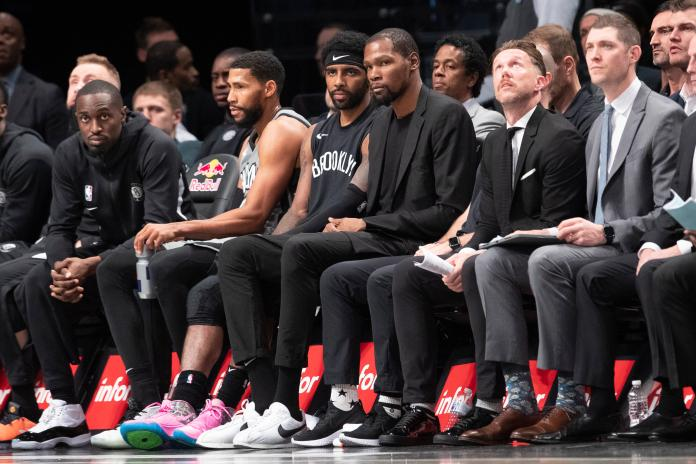 ▲籃網2大球星Kevin Durant、Kyrie Irving缺席復賽。(圖/美聯社/達志影像)