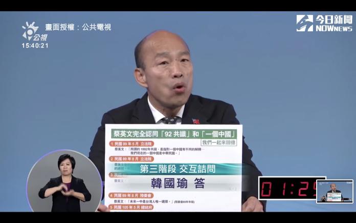 <br> ▲韓國瑜辯論會上火力全開。(圖/翻攝自公共電視)