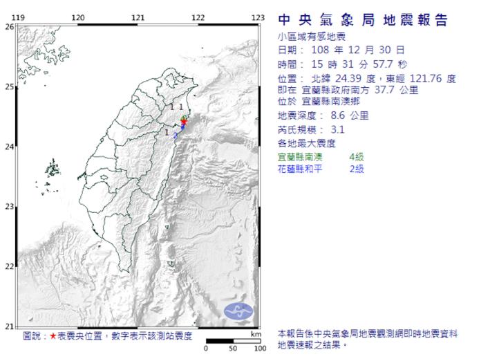 快訊/宜蘭縣15:31規模3.1地震 南澳最大<b>震度</b>4級