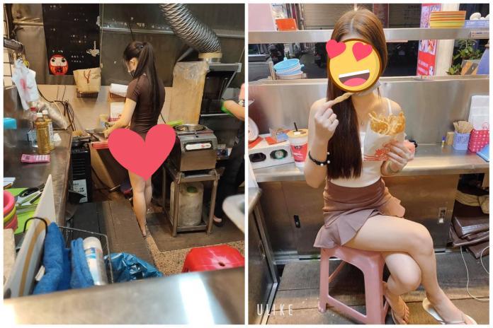 ▲有網友在買鹽酥雞看見老闆娘女兒的美麗背影,畫面引發討論。(圖/翻攝加藤軍路邊隨手拍/煻煻不一樣の鹽酥雞)