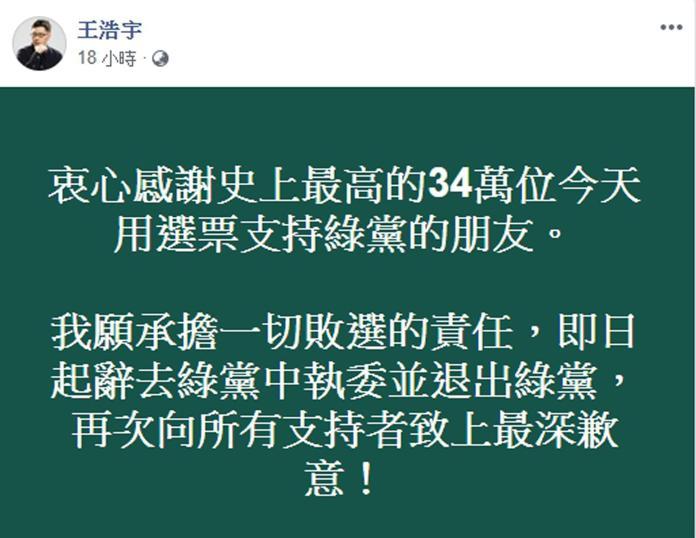 影/退綠黨為敗選負責 王浩宇:請每月定期定額支持綠黨