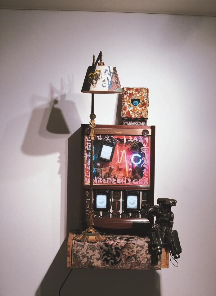 """Paik Nam June, """"Nostalgia is Extended Feedback"""", 1991, Mixed Media, 165 x 79 x 53 cm, Courtesy of the artist and GALERIE BHAK."""