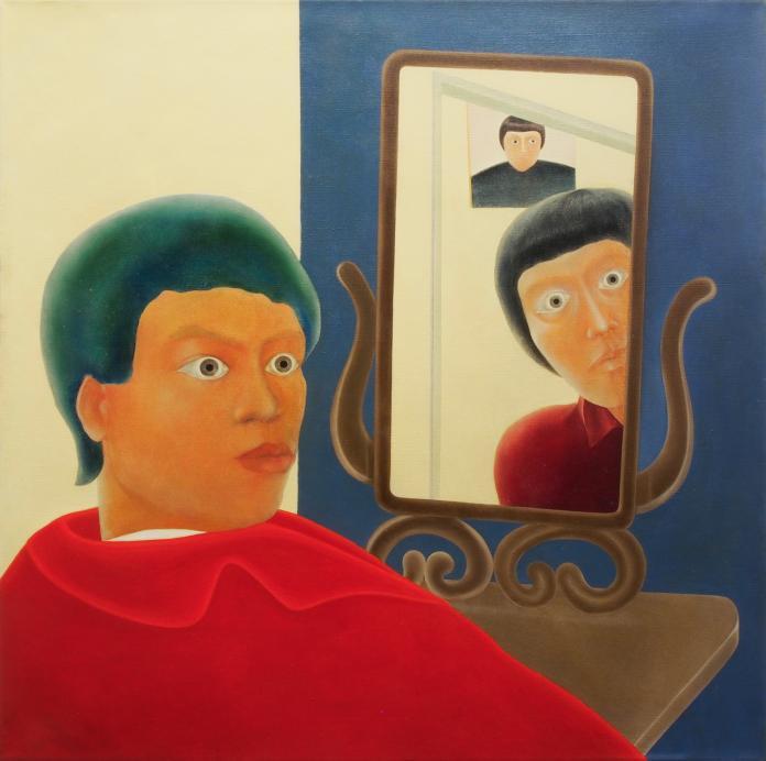 """陳昭宏Chen-Hilo-""""Self-Portrait-and-Mirrors""""-1969-oil-on-cancas-111.8-x-111.8-cm-Courtesy-of-the-artist-and-Each-Modern."""
