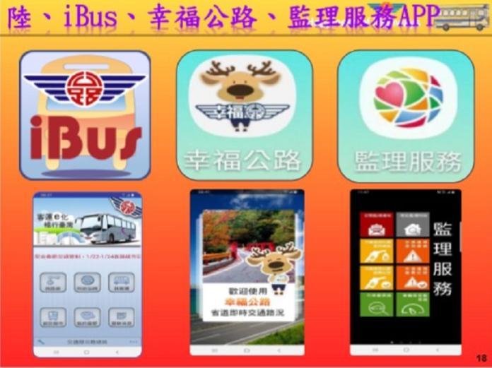 監理單位提供i bus、幸福公路及監理服務app服務旅運。