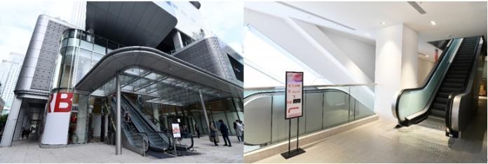 <br> ▲遠百信義A13特別設有3座直達手扶梯:1-4F、4-7F、7-10F,一路順暢,迅速抵達大稻埕老街、運動用品樓層及威秀影城。(圖/林柏年攝)