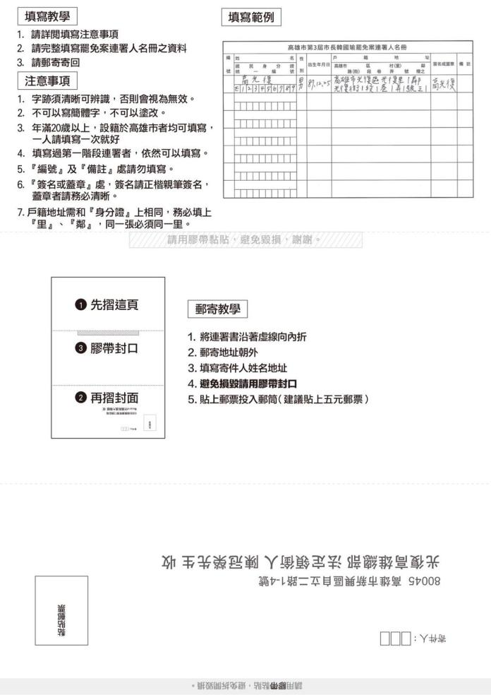 <br> 罷免高雄市長韓國瑜第二階段連署相關表格。(圖/We care高雄 提供)