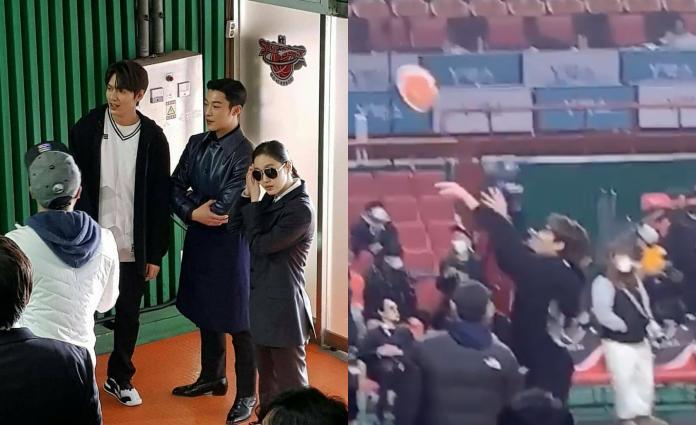 ▲李敏鎬、金高銀、禹棹煥等人昨在籃球館拍戲。(圖/IG)