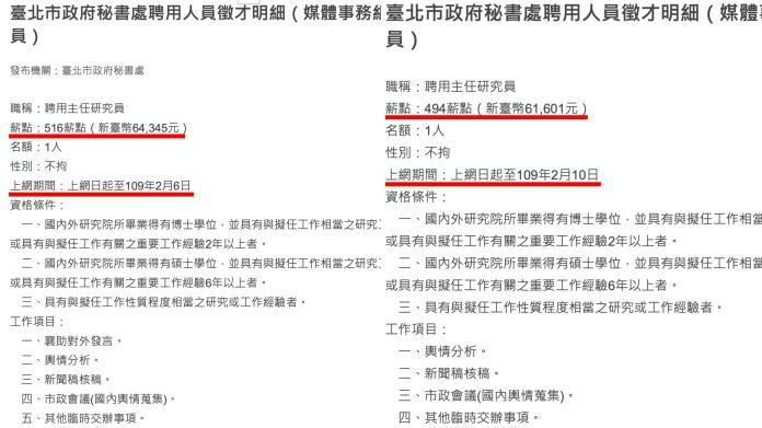 黃瀞瑩錄取職務之公告(左)不僅與另一職缺(右)公告日期有差距外,薪資及職務項目也有些許不同。