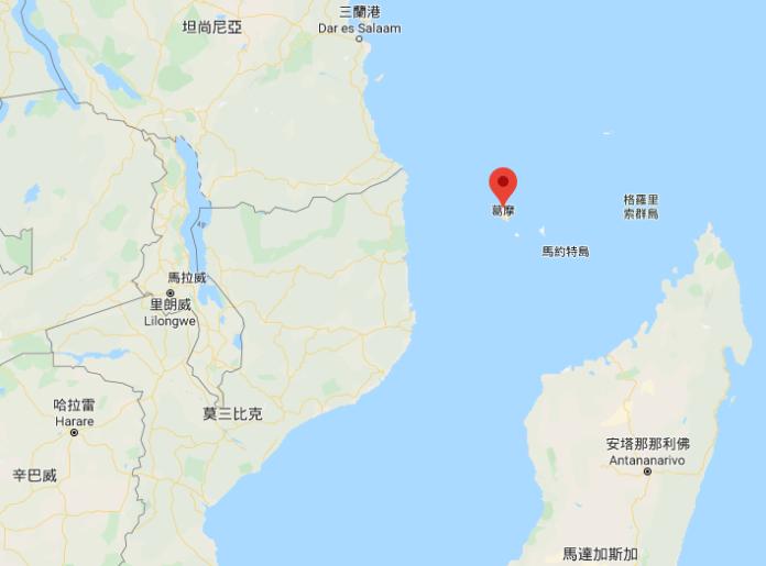 "<br> ▲科摩羅聯邦位於非洲東側莫桑比克海峽北端入口處,東、西臨近馬達加斯加和莫桑比克。(圖/翻攝自 Google Map )<br><br><div class=""ad-blk""></div>"