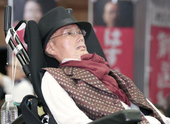 ▲罹患俗稱漸凍人症的日本國會議員舩後靖彥(圖/翻攝共同社)