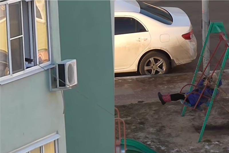 太懶!媽免出門「神招」照樣幫兒推鞦韆 鄰居全看傻眼