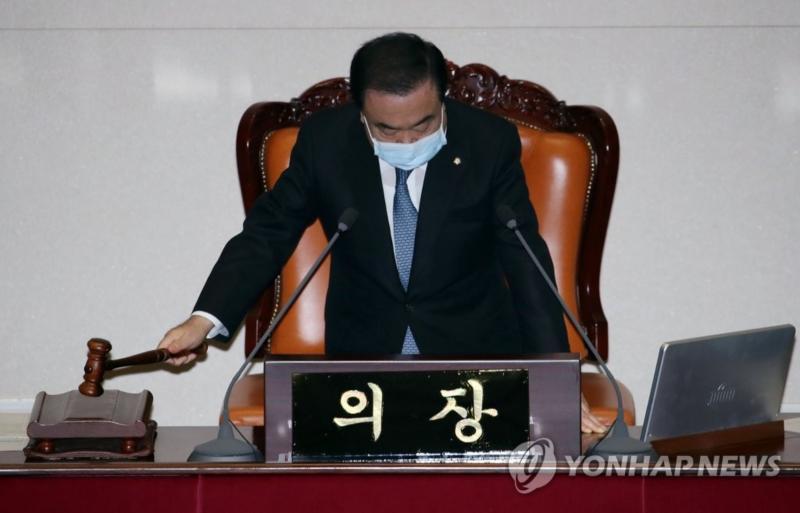 ▲韓國國會議長文喜相(圖/翻攝Yonhap News)