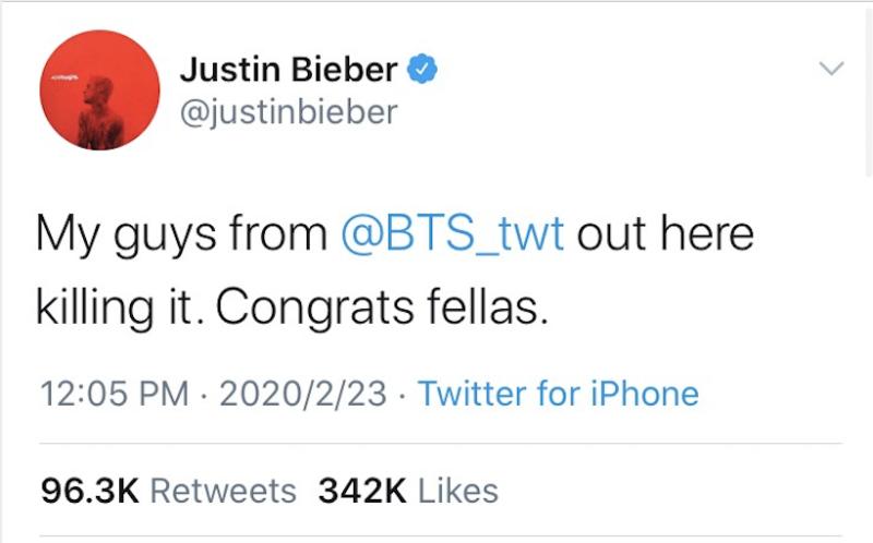 小賈斯丁也發推文恭喜BTS推出新專輯。(圖翻攝自Twitter/Justin Bieber)