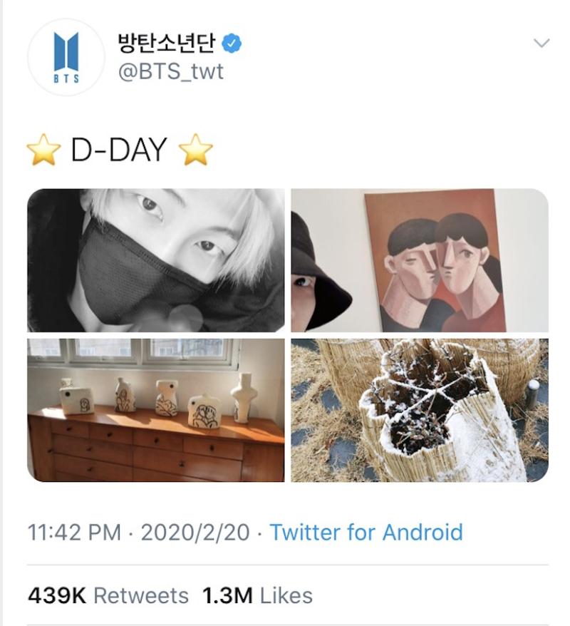 BTS推特官方帳號宣布他們正式回歸,一併附上成員RM和藝術作品系列照片。(圖翻攝自Twitter)