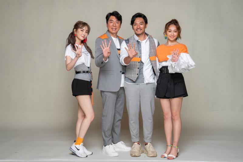 <br> ▲舒子晨(左起)、梁赫群、夢多、張文綺在新版《食尚玩家》中展現好默契。(圖/TVBS)