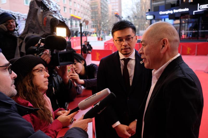 ▲導演蔡明亮接受柏林影展媒體訪問。(圖/攝影林育立)