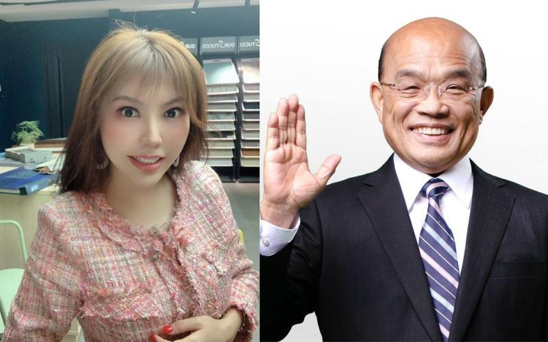 ▲蘇貞昌(右)表示不知道藝人劉樂妍(左)。(圖/翻攝劉樂妍、蘇貞昌臉書)