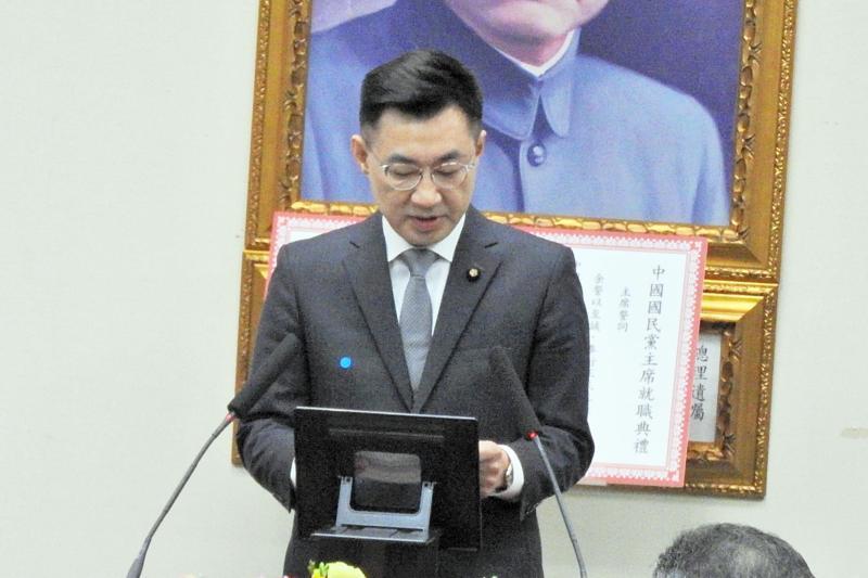 國民黨主席江啟臣9日發表就職談話,全篇沒提外界矚目的「九二共識」。(圖 / 記者陳弘志攝)